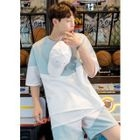 Round-Neck Short-Sleeve Two-Tone T-Shirt 1596