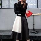 Set : Plain Long-Sleeve Top + Panel Midi Skirt 1596