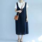 Plain Midi Pinafore Dress 1596