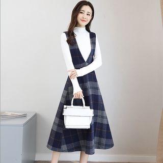 Set: Mock Neck Long-Sleeve Knit Top + Plaid A-Line Midi Pinafore Dress 1064772438