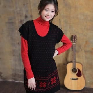 Picture of CLICK Snowflake Pattern Sweater DRess 1021787646 (CLICK Dresses, Womens Dresses, South Korea Dresses, Sweater Dresses)