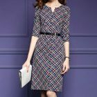 Patterned Elbow-Sleeve Dress 1596