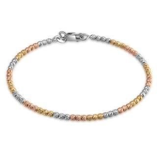 14K Italian Tri-Color Yellow, Rose and White Gold Diamond-Cut Beads Wire Bangle (55mm), Women Girl Jewelry in Gift Box