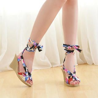 Picture of KAWO Printed-Strap Wedges 1022892991 (Other Shoes, KAWO Shoes, China Shoes, Womens Shoes, Other Womens Shoes)