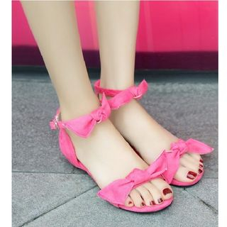 Bow Ankle Strap Flat Sandals 1067055442
