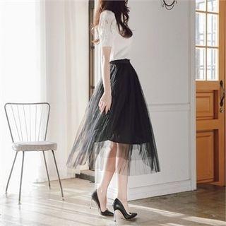 Band-Waist Long Tulle Skirt 1058201942