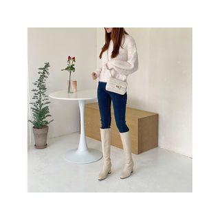 Crewneck Glitter Furry Sweater Ivory - One Size