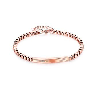 Simple And Fashion Plated Rose Gold Geometric Rectangular 316l Stainless Steel Bracelet With Cubic Zirconia Rose Gold - One Size