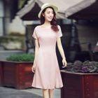 Short-Sleeve Chiffon Dress 1596