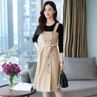 Set: Striped Double Breasted Pinafore Dress + Long Sleeve T-Shirt 1596