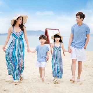 Short-sleeve   Spaghetti   T-Shirt   Family   Strap   Short   Dress