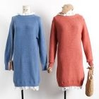 Lace Trim Long Sleeve Knit Dress 1596