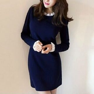 frilled-trim-long-sleeve-dress