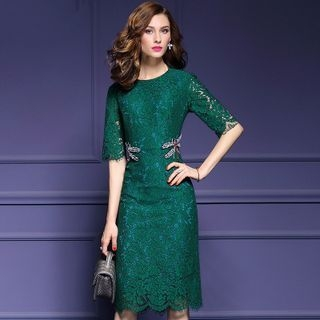 Elbow-Sleeve Lace Sheath Dress 1053830004
