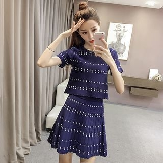 Set: Dotted Knit Top + A-Line Skirt 1060832290