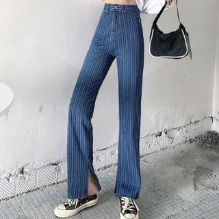 High-waist   Slit   Jean