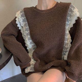 Lace Trim Fleece Sweatshirt Khaki - One Size