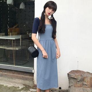 Ribbed Short-Sleeve Midi Mock Two-Piece Dress 1060721025