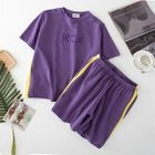 Set: Lettering Short Sleeve T-Shirt + Band Waist Shorts 1596