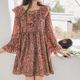 Ruffle-Trim Floral Print Dress 1065514308