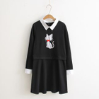 Embroidered Cat Collared Dress 1596