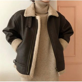 Image of Faux Leather Shearling Coat