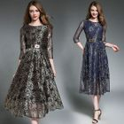 Elbow-Sleeve Crewneck A-Line Slim Lace Long Sheath Dress 1596