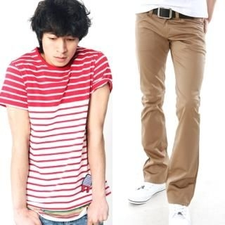Buy moscod Set: Striped Short-Sleeve T-Shirt + Cotton Pants 1022815425