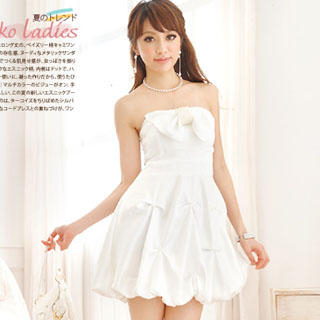 Picture of Reiko Ladies Bow Accent Strapless Dress White - One Size 1022997844 (Reiko Ladies Dresses, Womens Dresses, Taiwan Dresses)