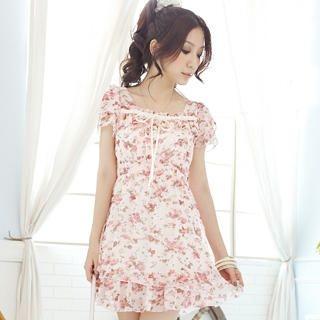 Buy Tokyo Fashion Ruffle Floral Chiffon Dress 1023065051