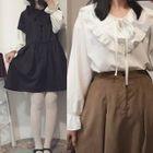 Plain Frill Trim Shirt/ Plain Hooded Short Sleeve Dress 1596