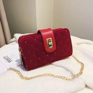 Image of Chain Detail Quilted Velvet Shoulder Bag