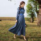 Long-Sleeve Bow-Accent Ruffled Dress 1596
