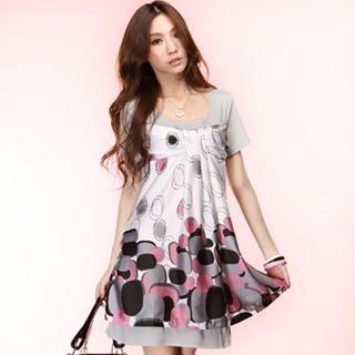 Buy Tokyo Fashion Short-Sleeve Panel Print Dress 1023065529