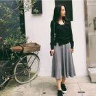 Ribbed Midi A-Line Skirt 1596