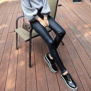 Fleece-Lined Faux Leather Leggings 1054139443