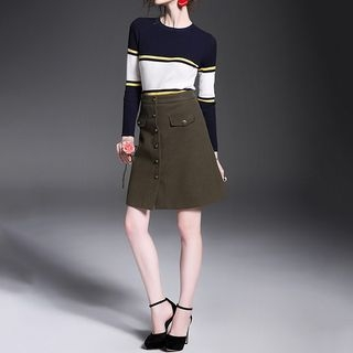 Set: Striped Long-Sleeve Knit Top + Buttoned A-Line Skirt 1054991593