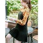 Set: Floral Print Long-Sleeve Dress + Spaghetti Strap Dress 1596