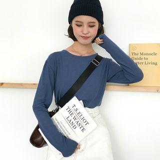 Plain Slim-Fit Long-Sleeve T-Shirt 1062739242