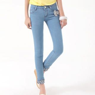 Dotted-Cuff Skinny Jeans