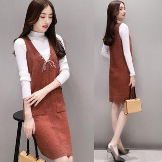 Mock Neck Long-Sleeve Knit Top / Knit Pinafore Dress / Set: Mock Neck Long-Sleeve Knit Top + Knit Pinafore Dress 1063054393