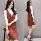 Mock Neck Long-Sleeve Knit Top / Knit Pinafore Dress / Set: Mock Neck Long-Sleeve Knit Top + Knit Pinafore Dress 1596