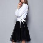 Set: Bow Blouse + Sheer Panel Skirt 1596