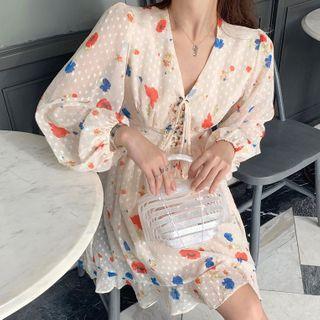 Long-sleeve   Chiffon   Dress   Print   Mini