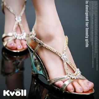 Buy Kvoll Rhinestone Strappy Wedges Sandals 1022533422