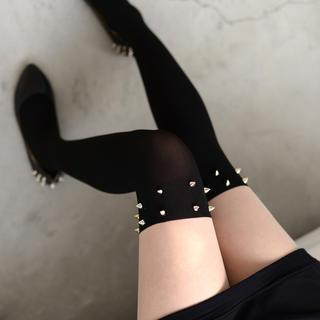 Studded Two-Tone Tights Black and Nude - One size 1035309280