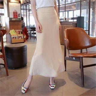 Band-Waist A-Line Long Skirt 1057789303