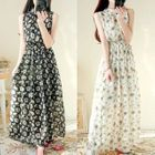 Sleeveless Floral Chiffon Maxi Dress 1596
