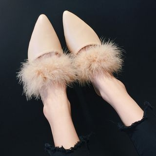 Furry Trim Pointed Mules 1062097221