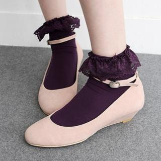 Picture of HARU Ankle Strap Wedge Pumps 1022348966 (Pump Shoes, HARU Shoes, Korea Shoes, Womens Shoes, Womens Pump Shoes)